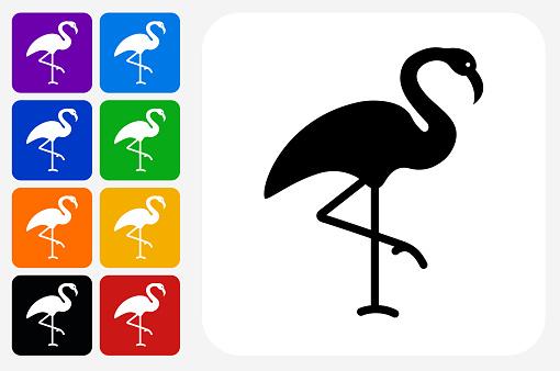 Flamingo Icon Square Button Set