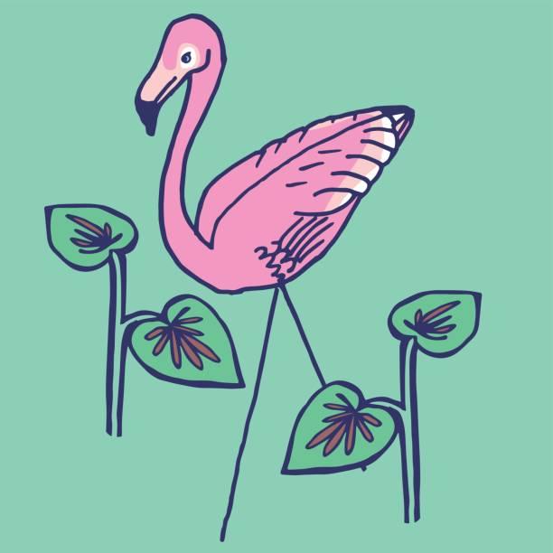 Flamingo Lawn Ornament vector art illustration