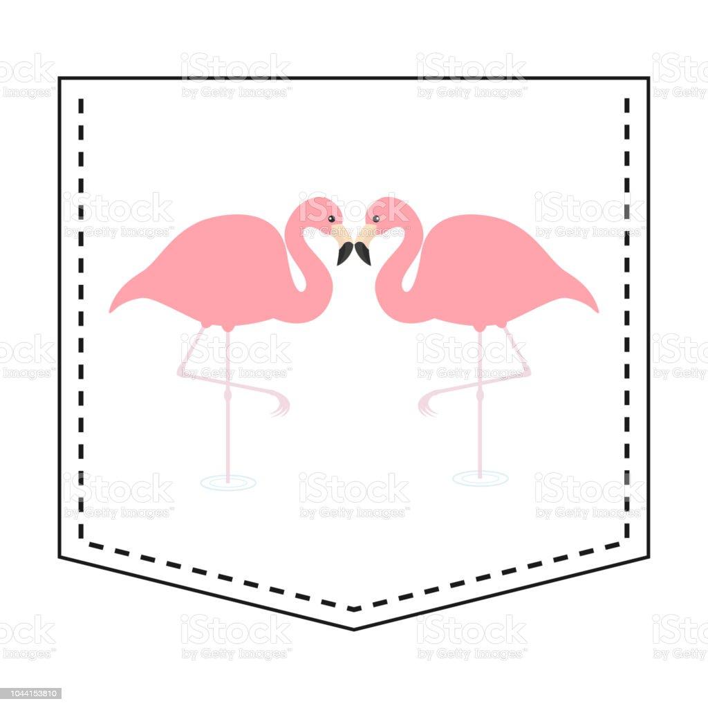 451376233 Flamingo love couple pocket print. T-shirt design. Cartoon animals. Cute  baby