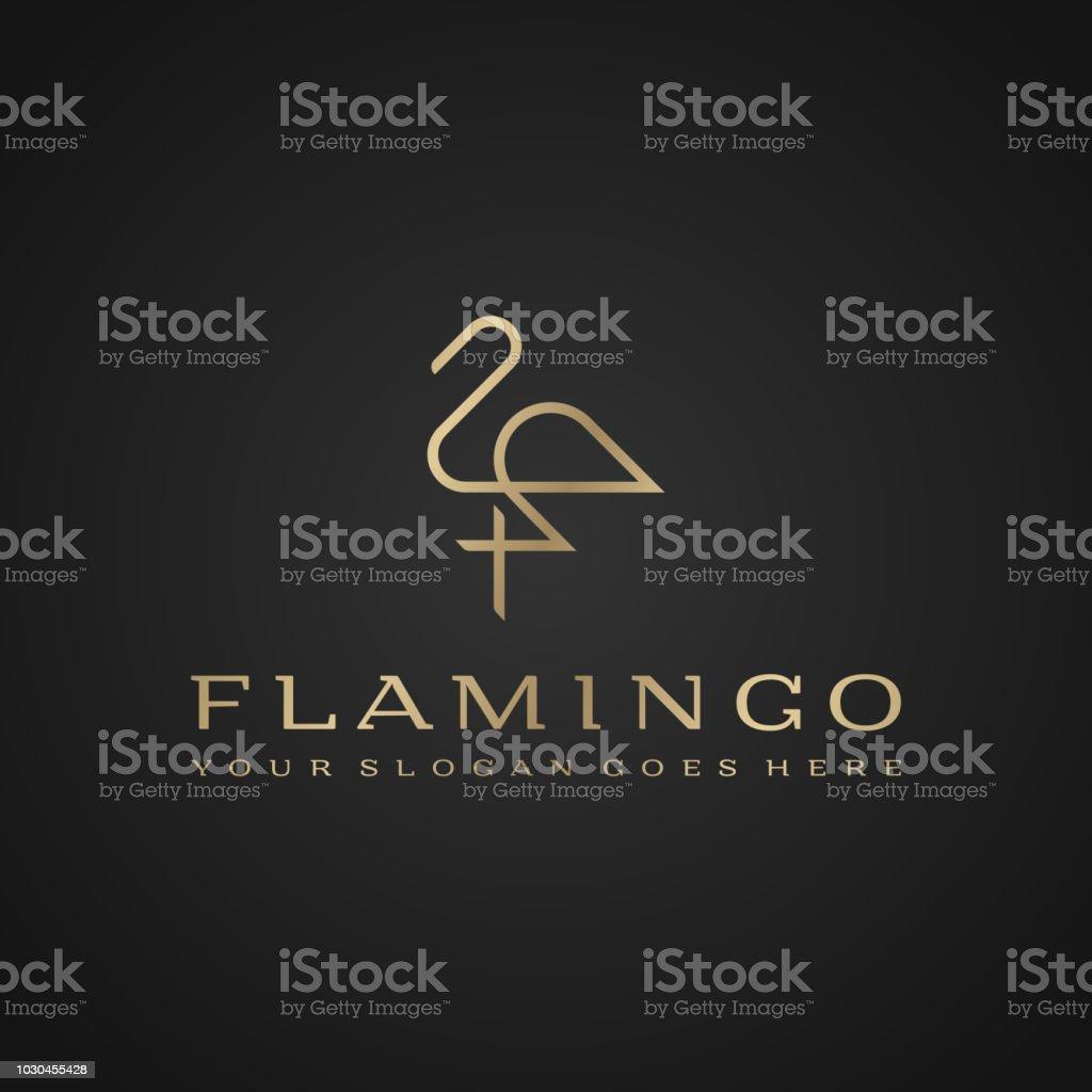 Flamingo . Luxury simple design. Vector line drawing template Flamingo . Luxury simple design. Vector line drawing template. Abstract stock vector