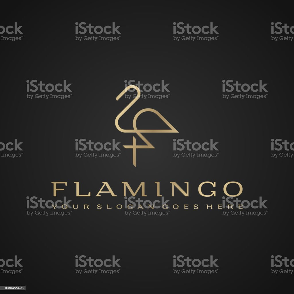 Flamingo . Luxury simple design. Vector line drawing template