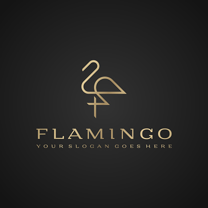 Flamingo Luxury Simple Design Vector Line Drawing Template Stock Illustration - Download Image Now