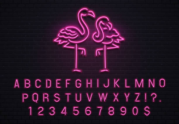 flamingo neon sign. pink 80s font. tropical flamingos electric glow bar billboard with purple light bulb letters vector illustration - flamingo stock illustrations