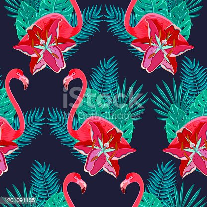 Flamingo birds and tropical hibiscus bright flowers tropical foliage colorful composition hawaiian seamless pattern abstract vector illustration