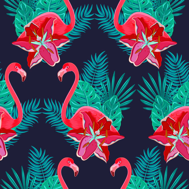 flamingo pattern Flamingo birds and tropical hibiscus bright flowers tropical foliage colorful composition hawaiian seamless pattern abstract vector illustration water bird stock illustrations
