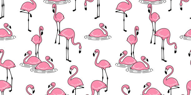 Flamingo seamless pattern vector pink Flamingos exotic bird tropical summer scarf isolated repeat wallpaper tile background cartoon illustration Flamingo seamless pattern vector pink Flamingos exotic bird tropical summer scarf isolated repeat wallpaper tile background cartoon illustration lakeshore stock illustrations