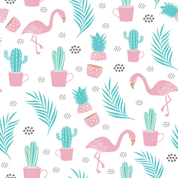 stockillustraties, clipart, cartoons en iconen met flamingo naadloze patroon met cactus, palmblad, en ananas vector illustratie - afrikaanse vogel