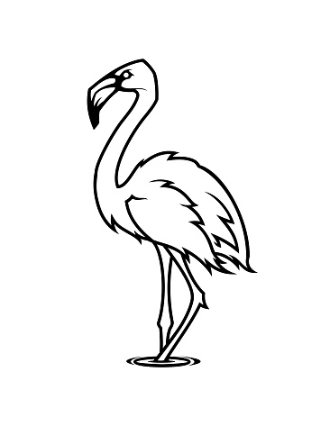 Flamingo silhouette. Tropical bird character