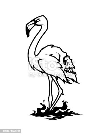 Flamingo silhouette with a skull on the back