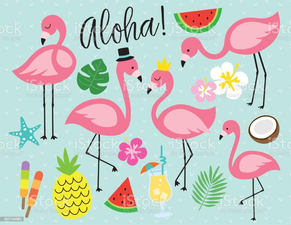 Flamingo Tropical Summer Vector Illustration Stock ...