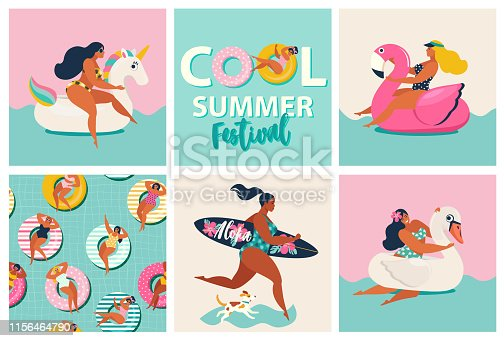 Flamingo, unicorn and swan inflatable swimming pool floats. Cartoon set of summer time with girls, pool floats, dog, surfboard isolated on waves background.