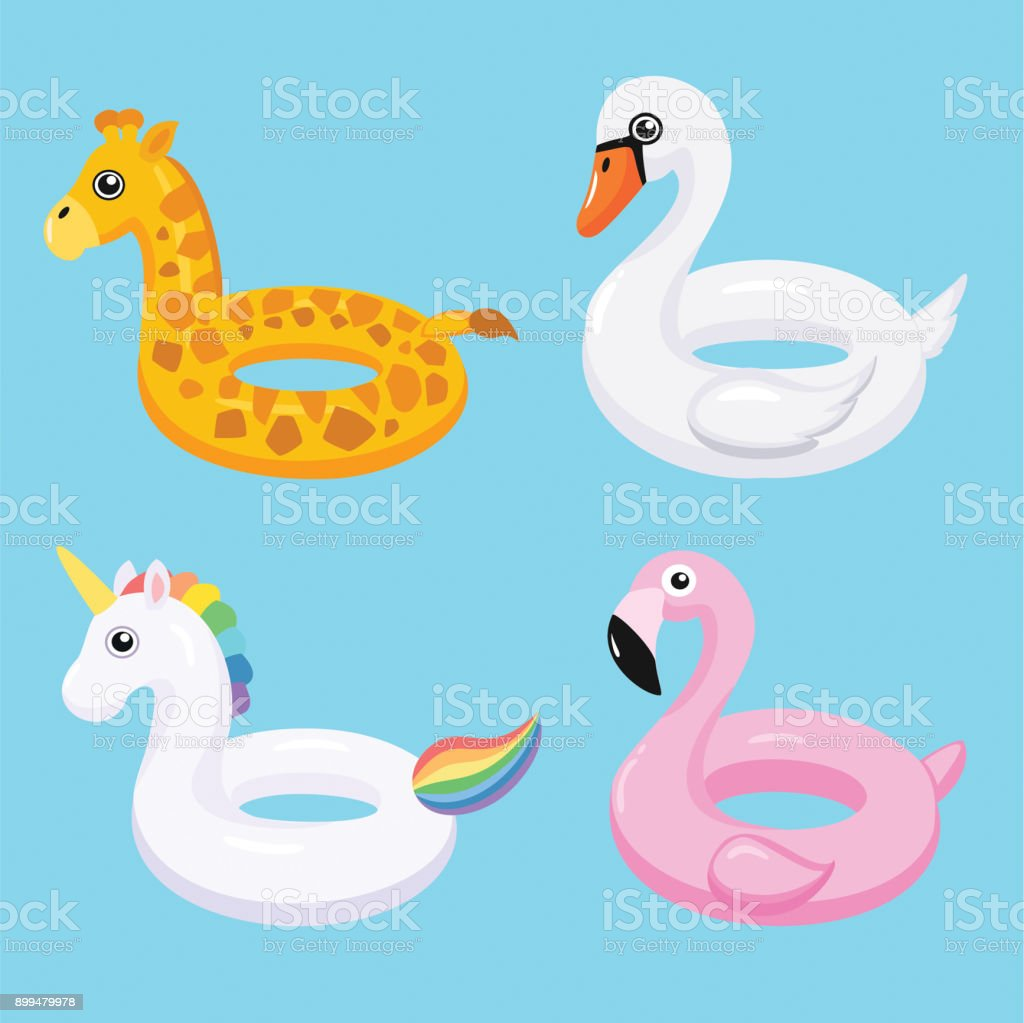 Flamingo, Unicorn, Swan And Giraffe Inflatable Swimming Pool Floats. Vector  Illustration. Royalty