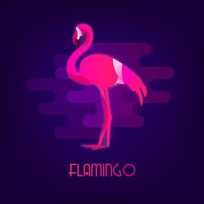 Flamingo vector icon with the neon glow on dark background. Flat design.