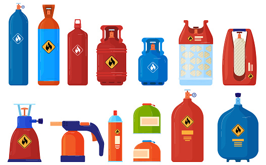 Flammable gas cylinder container vector illustration set, cartoon flat inflammable argon, acetylene, lpg propane or butane tanks