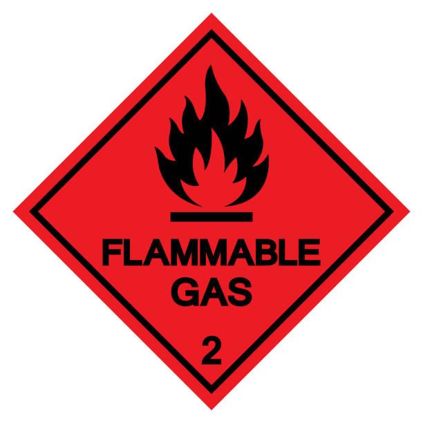 ilustrações de stock, clip art, desenhos animados e ícones de flammable gas symbol sign ,vector illustration, isolate on white background label .eps10 - inflamável