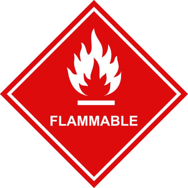 ilustrações de stock, clip art, desenhos animados e ícones de flammable icon red square label - inflamável