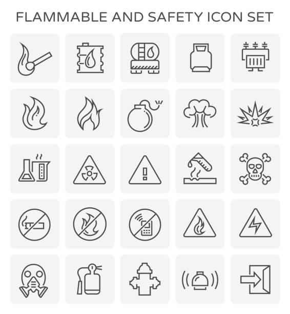bildbanksillustrationer, clip art samt tecknat material och ikoner med brandfarliga säkerhet ikonen - fire alarm