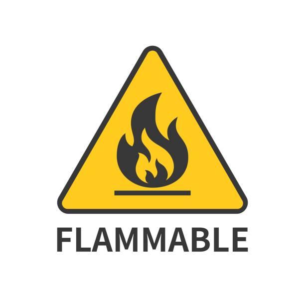 flammable sign icon in yellow triangle – artystyczna grafika wektorowa
