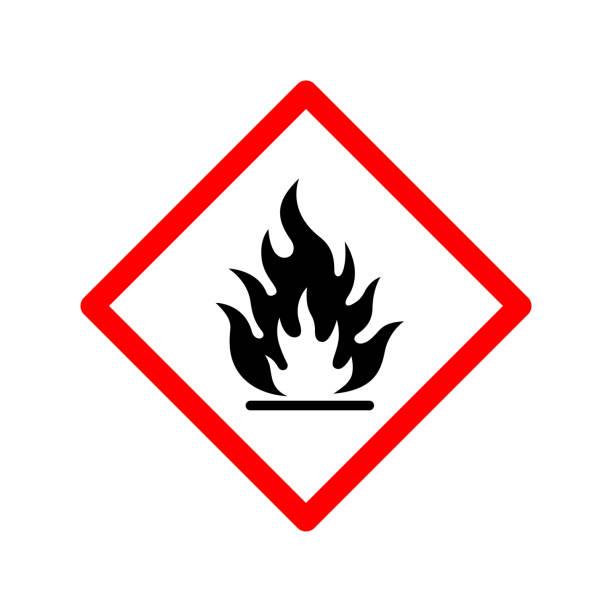 ilustrações de stock, clip art, desenhos animados e ícones de flammable sign icon vector design template - inflamável