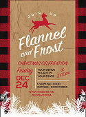Flannel and Frost Holiday greeting invitation design template
