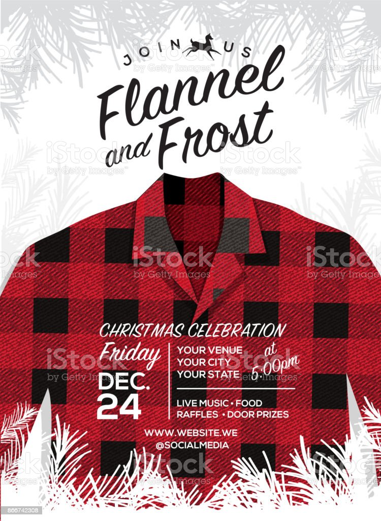 Flannel And Frost Holiday Greeting Invitation Design