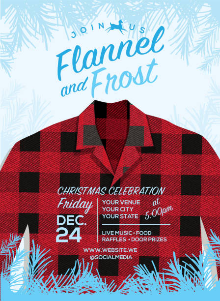 flannel and frost holiday greeting invitation design template with flannel shirt - plaid shirt stock illustrations