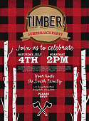 Vector illustration of a plaid Flannel Lumberjack party invitation design template. Design includes red and black color palette with wood textures. Includes birch tree stumps, crossed axes, wood stump. Perfect for Canadian celebration, boys birthday party invitation, lumberjack, hipster or male party themes. Layers for easy editing. Sample text design.