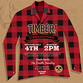 Vector illustration of a plaid Flannel Lumberjack shirt party invitation design template. Design includes red and black color palette with wood textures. Includes flannel red and black checked shirt, crossed axes patch. Perfect for Canadian celebration, boys birthday party invitation, lumberjack, hipster or male party themes. Layers for easy editing. Sample text design.