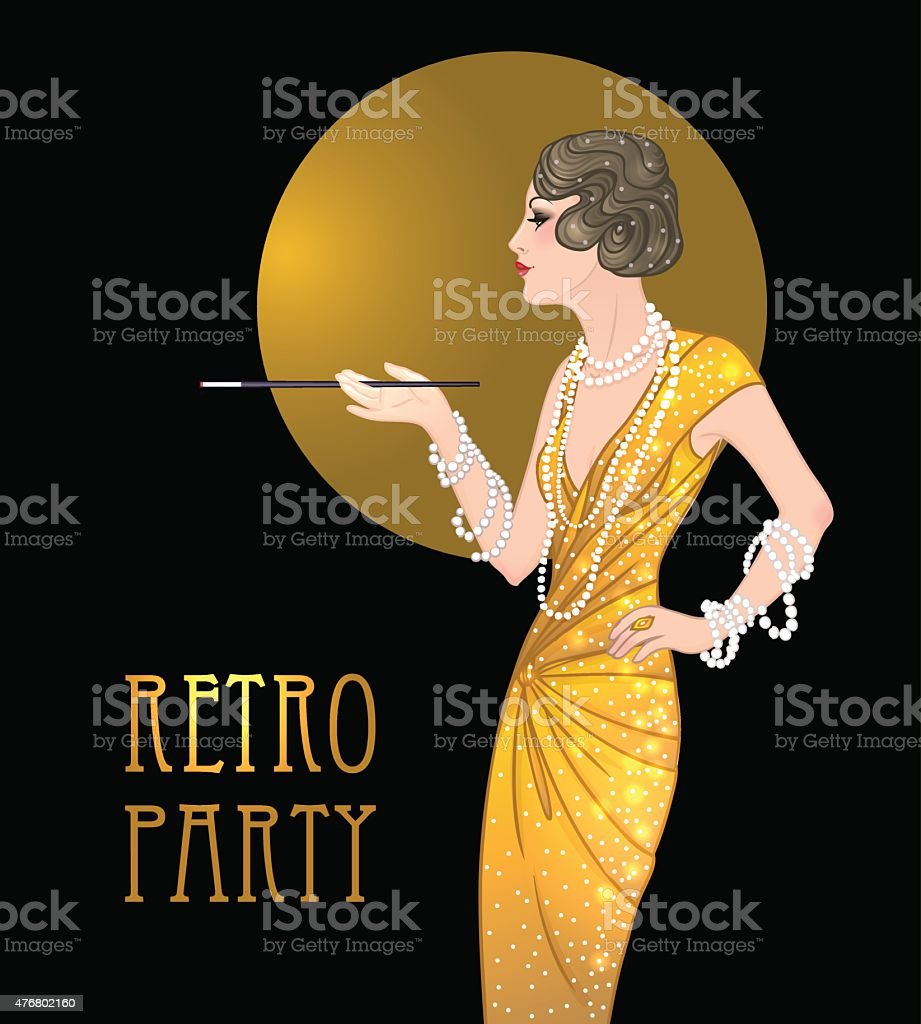 Flapper girl: Retro party invitation design template. Great Gatsby style. vector art illustration