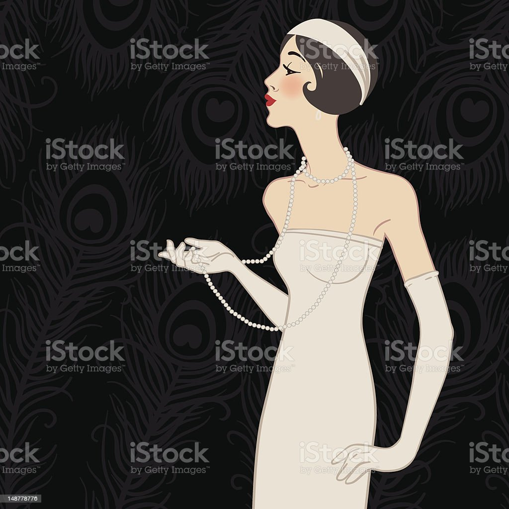 Flapper girl: Retro party invitation design royalty-free flapper girl retro party invitation design stock vector art & more images of 1920-1929