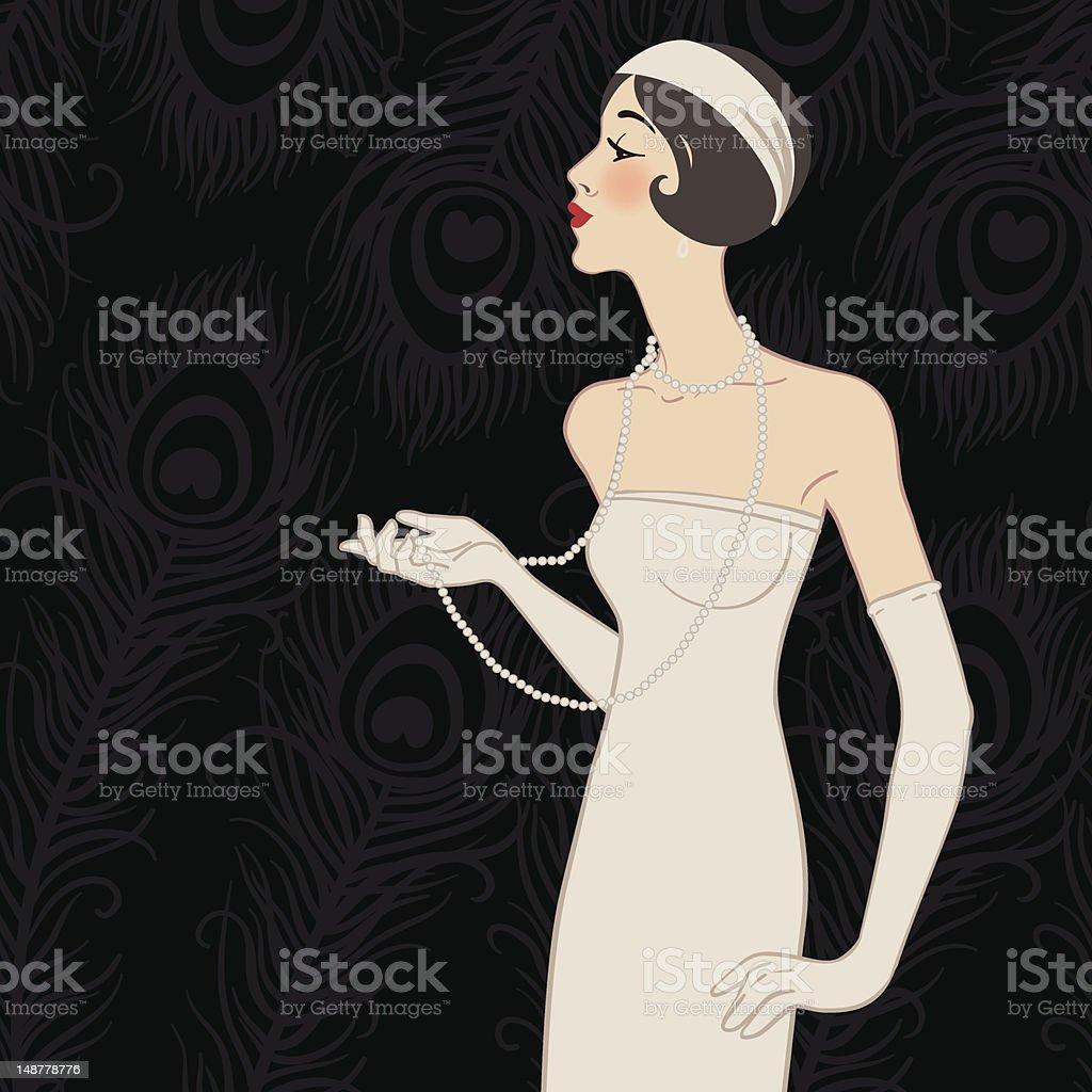 Flapper girl: Retro party invitation design vector art illustration