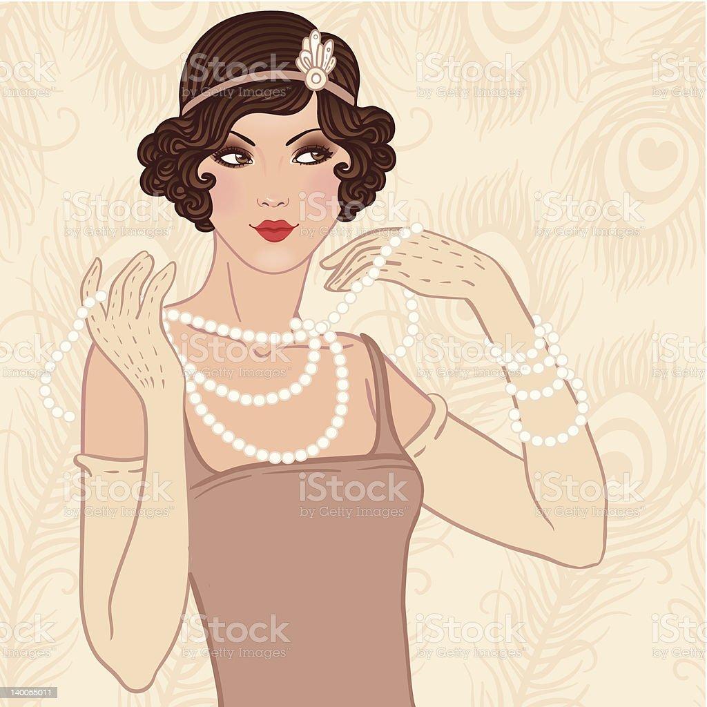 Flapper girl retro party invitation vector art illustration