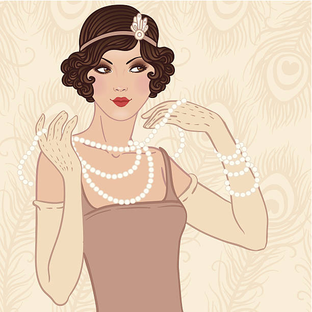 flapper girl retro party invitation - 1920s style stock illustrations, clip art, cartoons, & icons