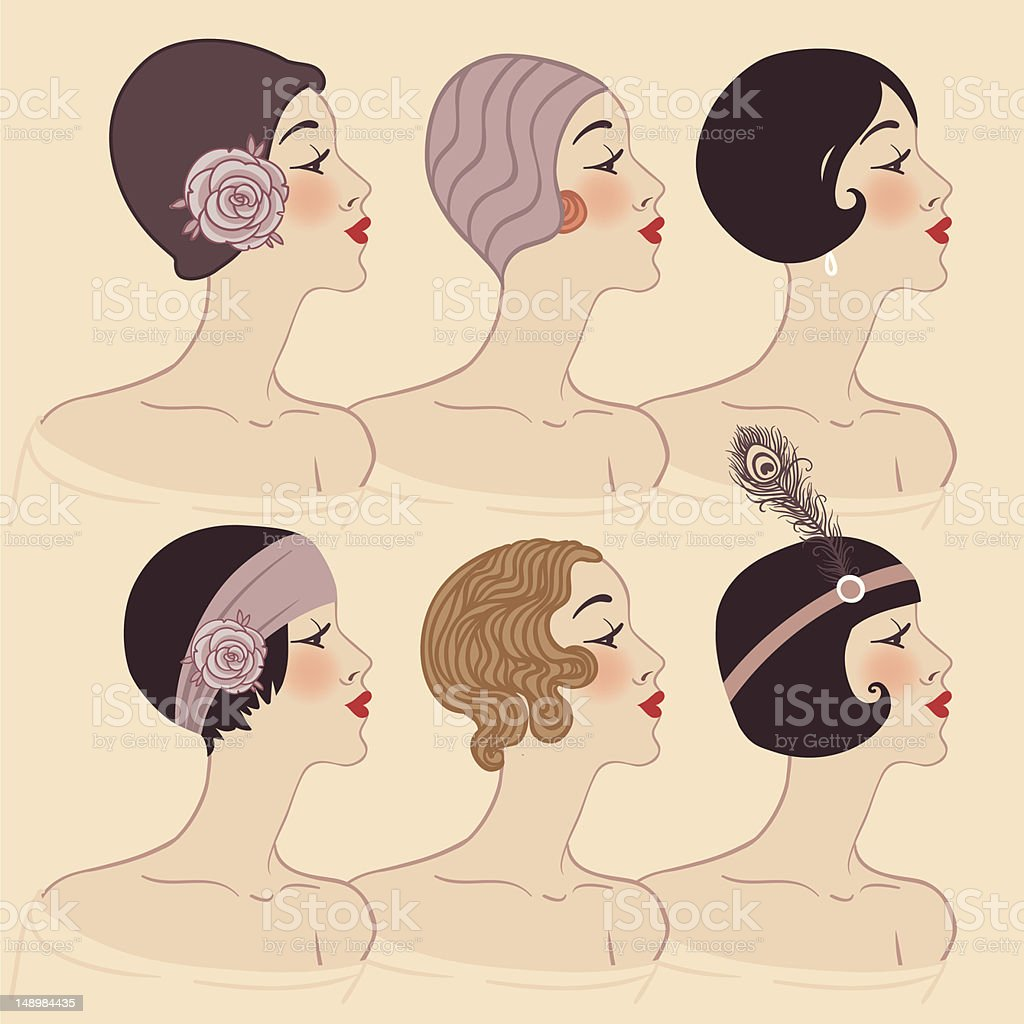 Flapper girls set: Hairstyle, headdress and makeup of 1920s royalty-free stock vector art