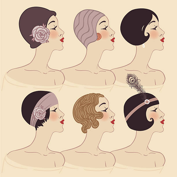 Flapper girls set: Hairstyle, headdress and makeup of 1920s vector art illustration