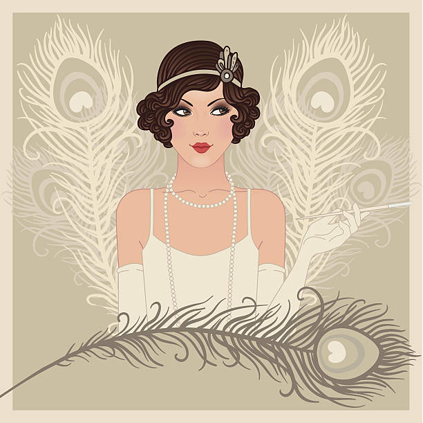 flapper gitl series: retro party invitation design - 1920s style stock illustrations, clip art, cartoons, & icons