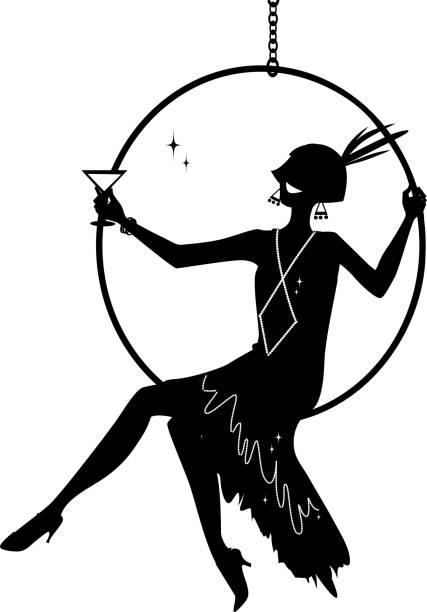 Flapper silhouette clip-art vector art illustration