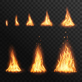 Flaring up fire stages, Vector burning campfire blaze effect for animation. Realistic 3d torch flame, glow orange and yellow bonfire shining flare design elements isolated on transparent background