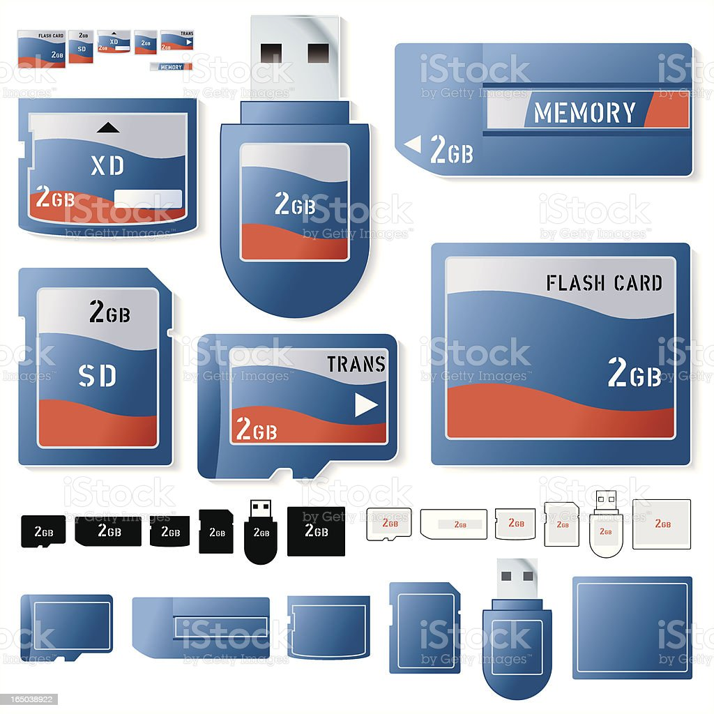 Flash card 2 Gig royalty-free stock vector art