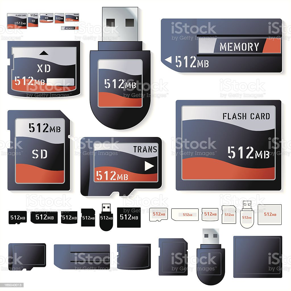 Flash Card 512Mb royalty-free flash card 512mb stock vector art & more images of black color