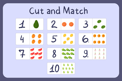 Flash cards with numbers for kids, set 6. Cut and match pictures with numbers and fruits. Illustration for educational math game design. Printable worksheet. Cartoon vector template.