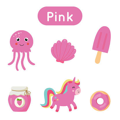 Flash cards with objects in pink color. Educational printable worksheet.