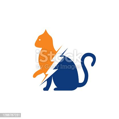 istock Flash cat vector logo design. 1288787231