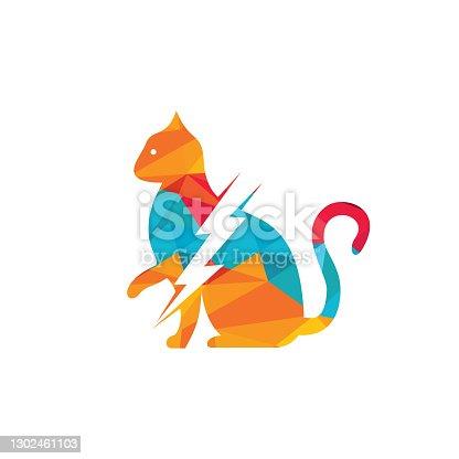 istock Flash cat vector logo design. 1302461103