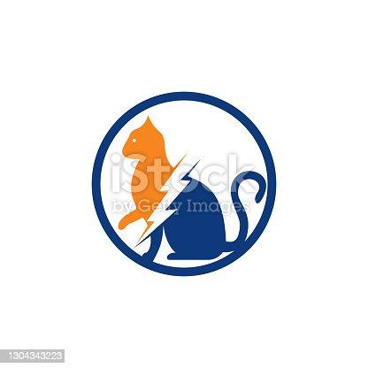 istock Flash cat vector logo design. 1304343223