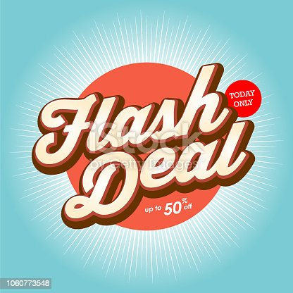 Vector of flash deal banner design with color starburst background..  This illustration is an EPS 10 file and contains transparency effects.