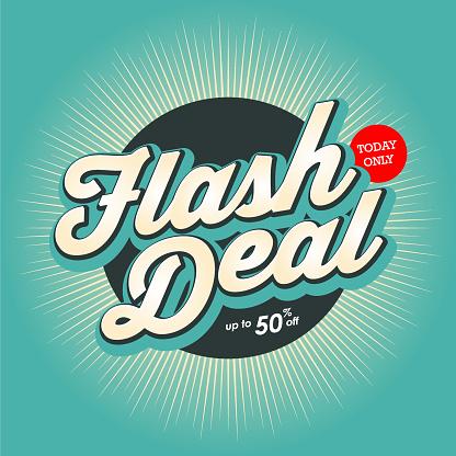Flash Deal banner design with color starburst background.
