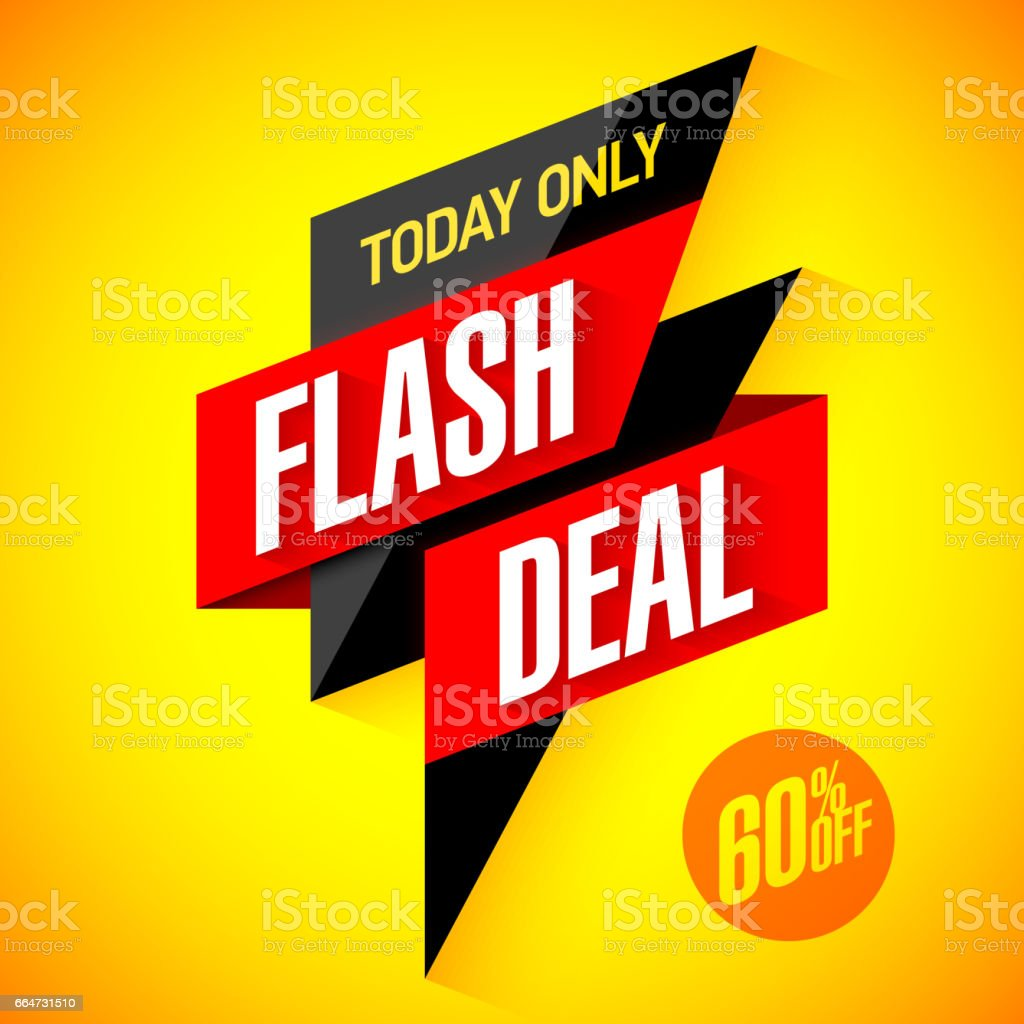 Flash deal sale banner vector art illustration