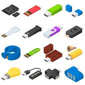 USB flash drive icons set. Isometric illustration of 16 USB flash drive vector icons for web
