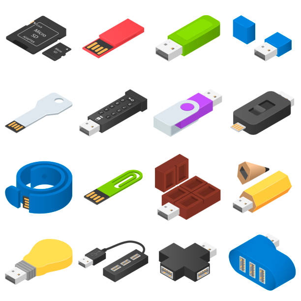 USB flash drive icons set, isometric style USB flash drive icons set. Isometric illustration of 16 USB flash drive vector icons for web usb stick stock illustrations